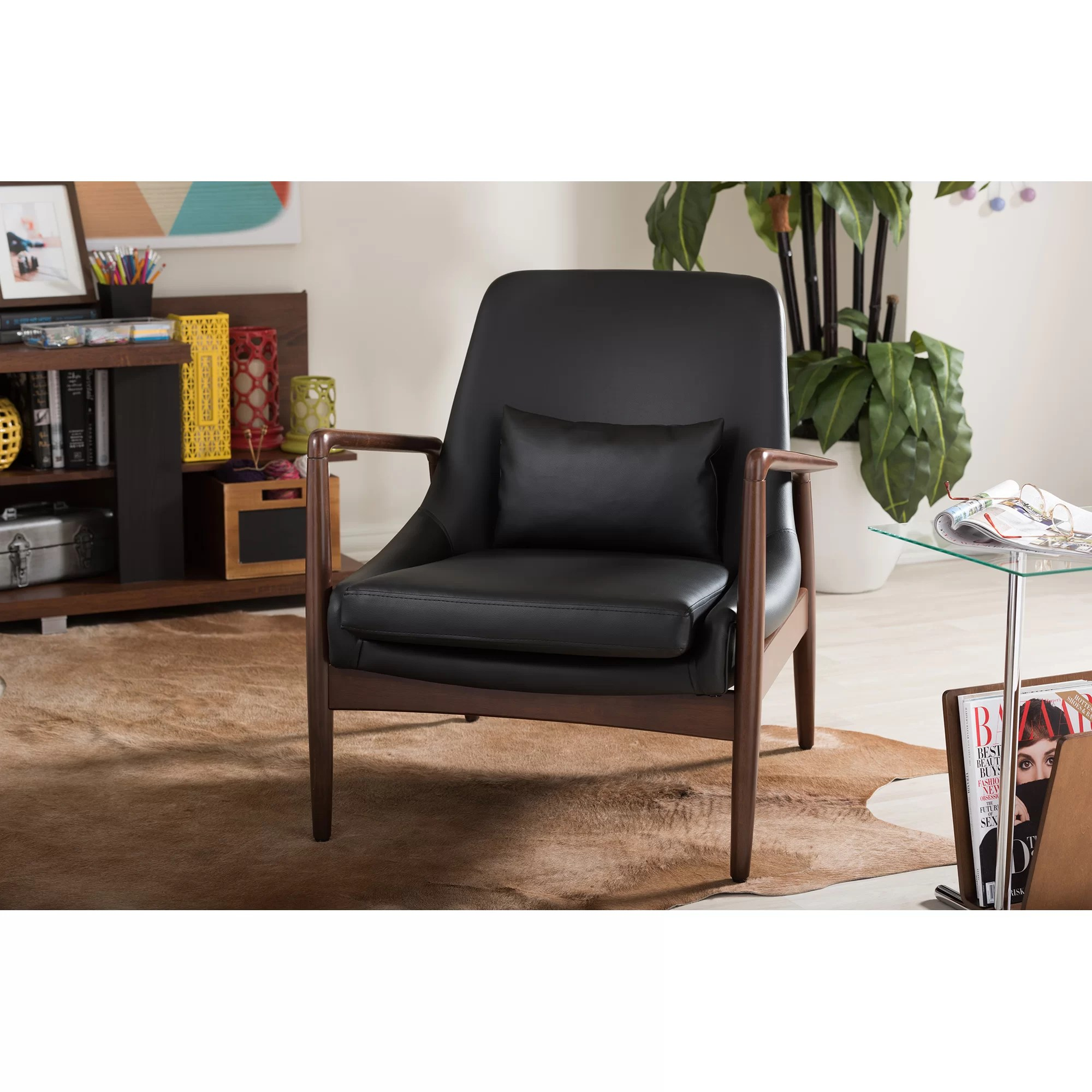 baxton studio modern leather accent chair round table and set carter lounge wayfair
