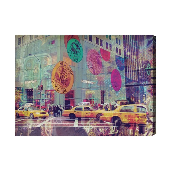 Oliver Gal Nyc Fashion Taxi Graphic Art Wrapped Canvas
