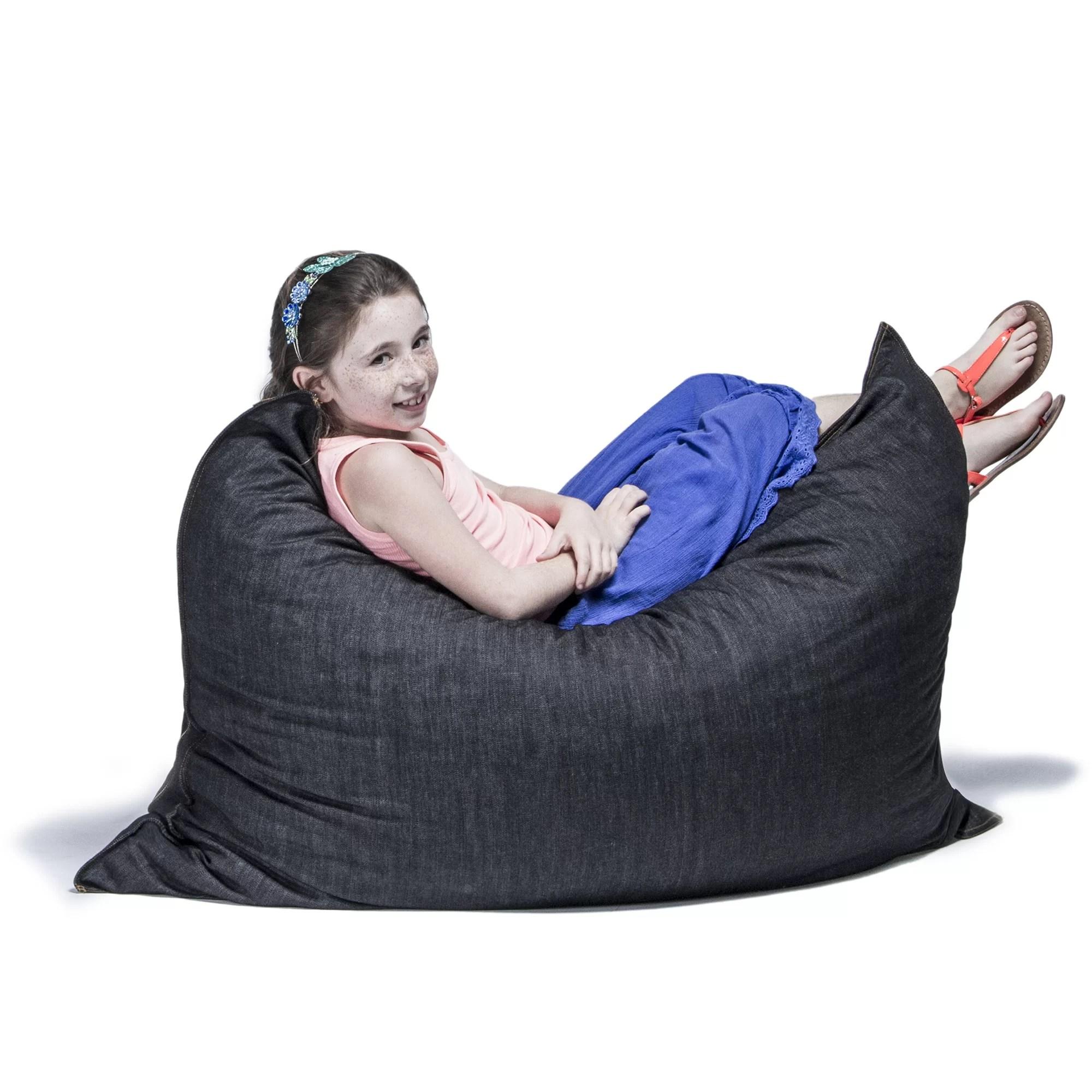 jaxx bean bag chair black velvet dining chairs denim 3 5 pillow saxx lounge and reviews