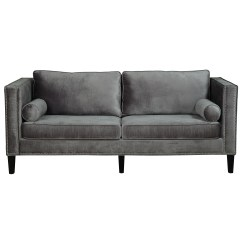 Grey Sofa With Silver Nailheads Slipcover Material Tov Cooper And Reviews Wayfair