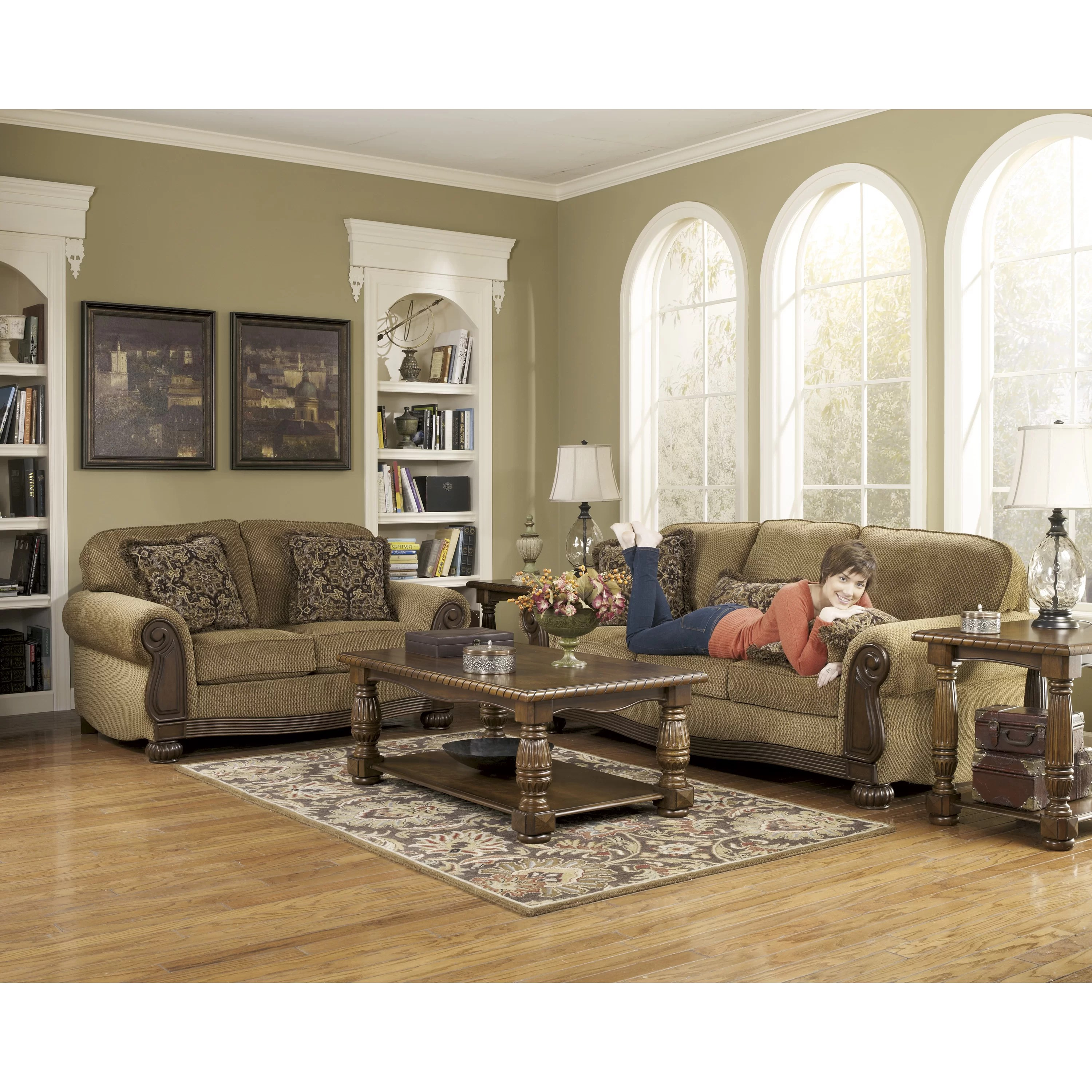 signature design by ashley harvest sleeper sofa chesterfield bed london taylor and reviews wayfair