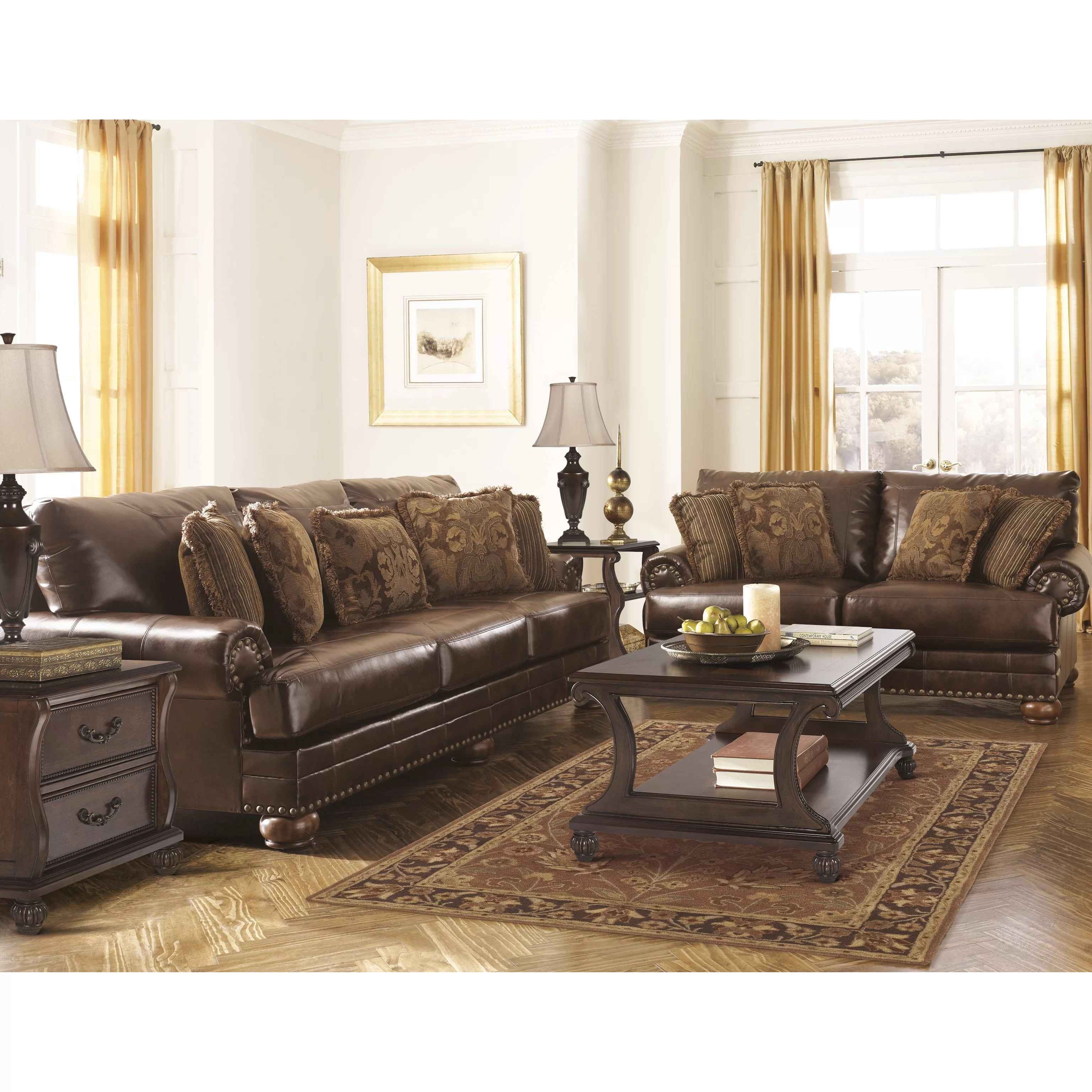 signature design by ashley harvest sleeper sofa mies sofascore leighton leather and reviews
