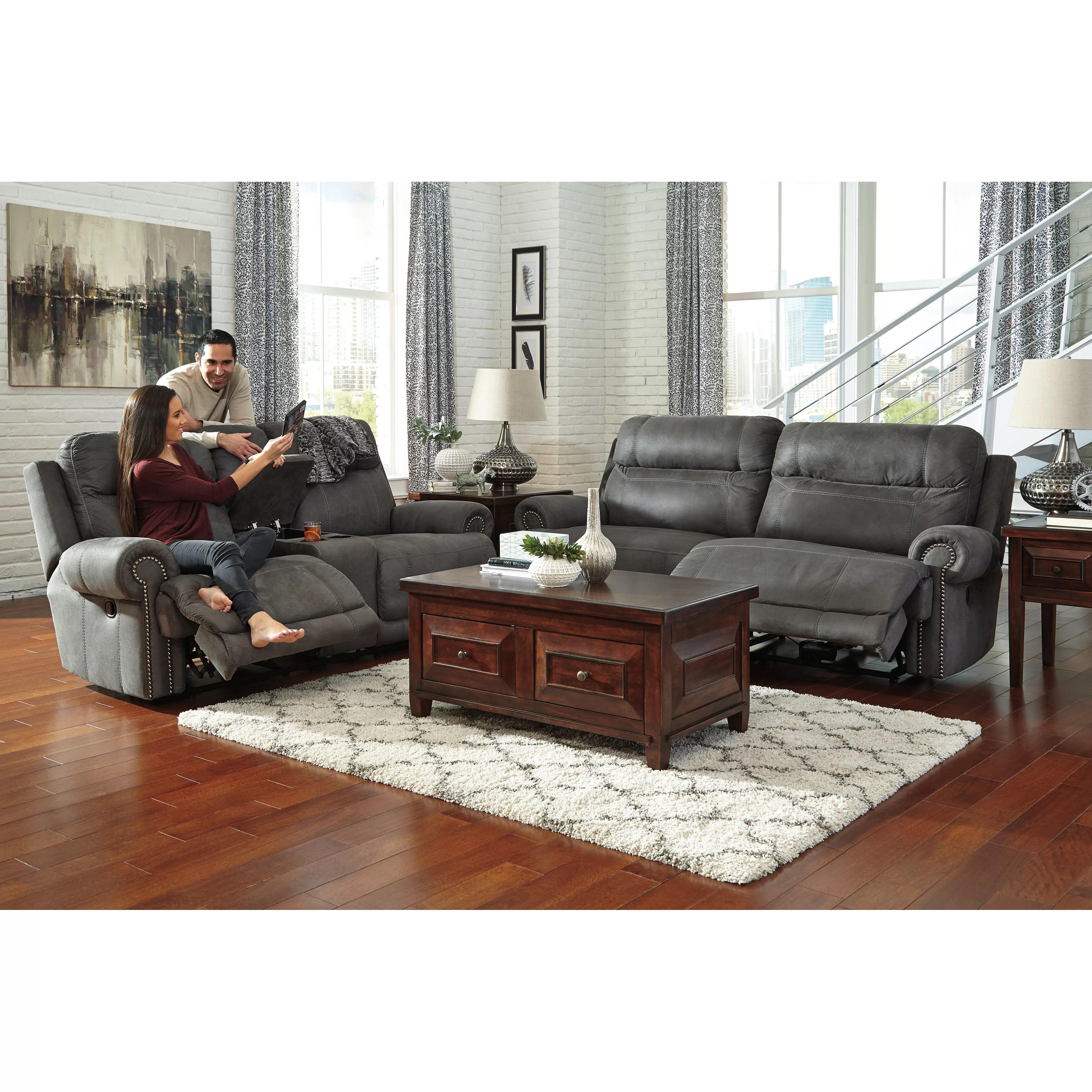 signature design by ashley harvest sleeper sofa ara futon bed with storage hazelnut austere 2 seat reclining wayfair
