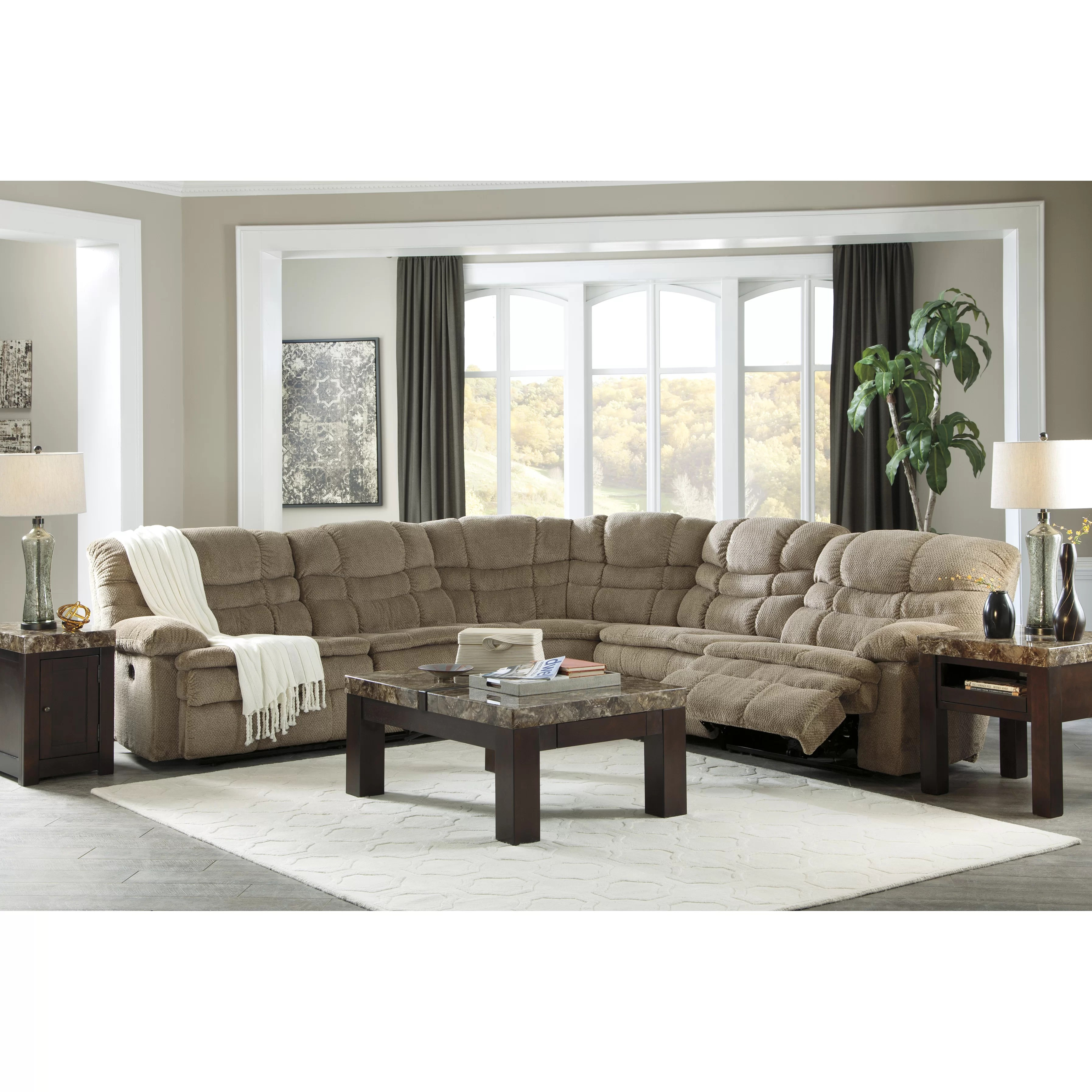 signature design by ashley harvest sleeper sofa harper simmons upholstery zavion sectional wayfair