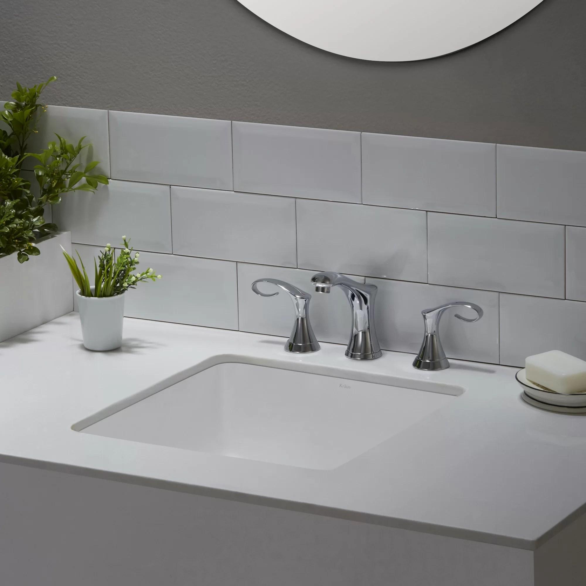 Elavo Ceramic Square Undermount Bathroom Sink with