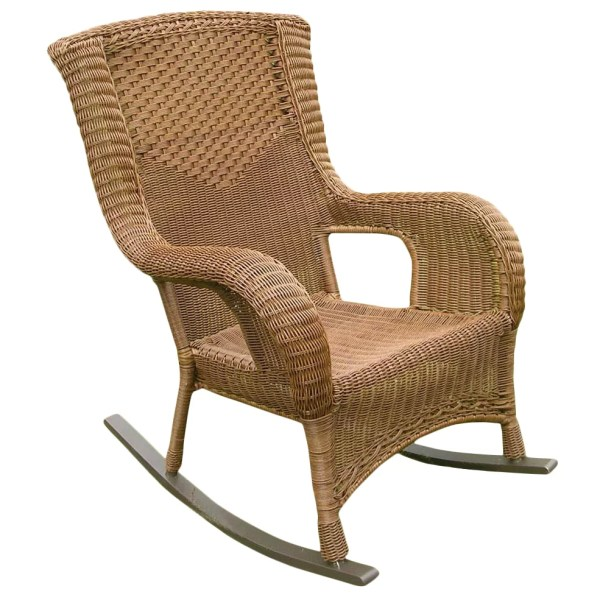 Outdoor High Back Wicker Rocking Chairs