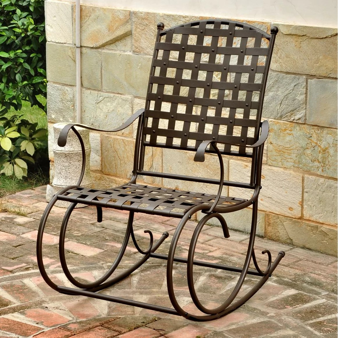 Iron Patio Chairs International Caravan Santa Fe Nailhead Iron Patio Rocking