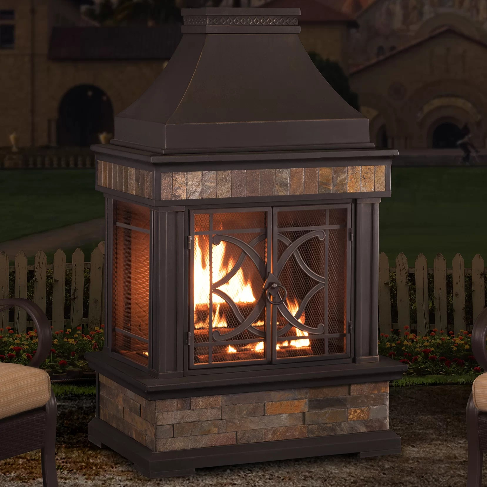 Sunjoy Heirloom Steel Wood Burning Outdoor Outdoor Fireplace  Reviews  Wayfair