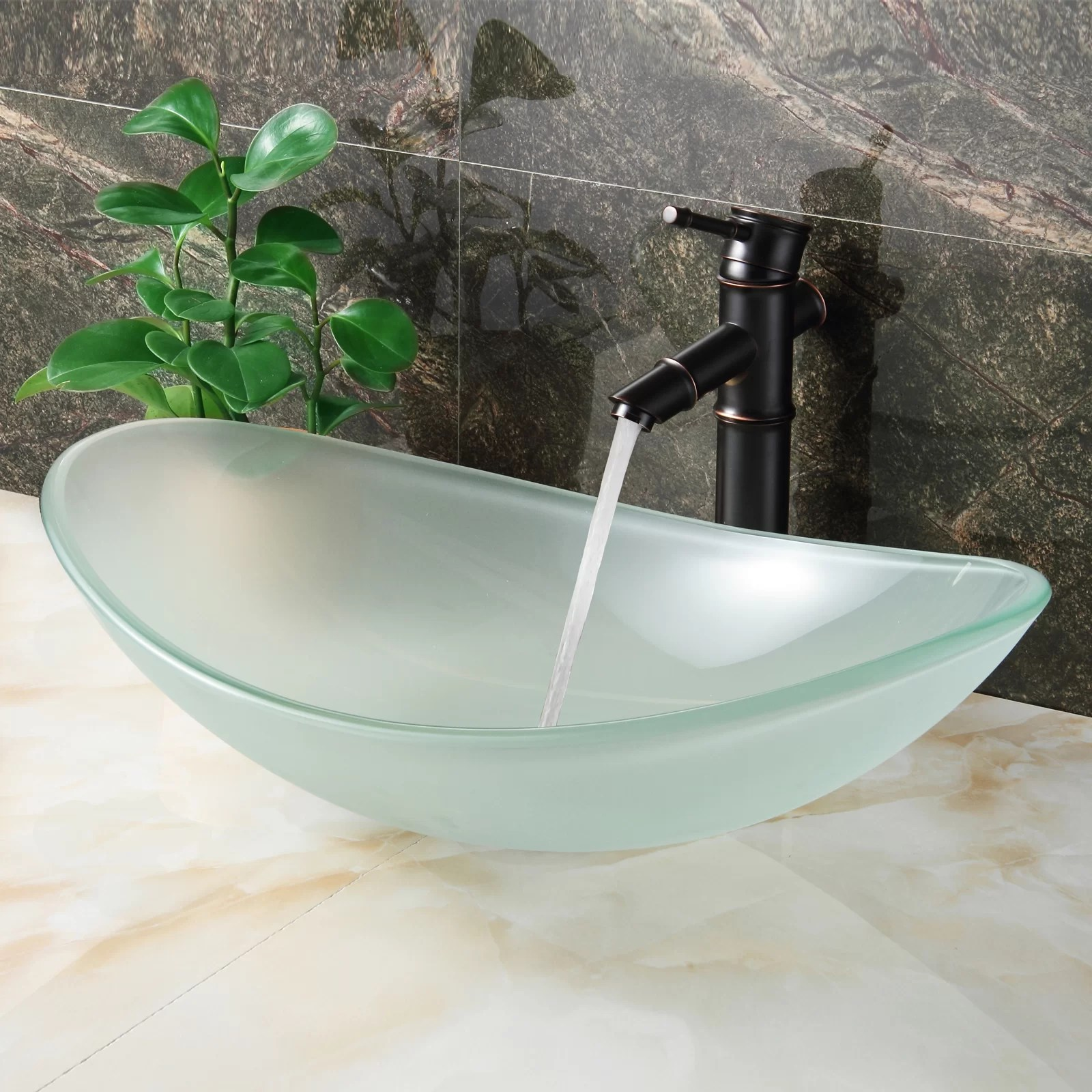 Elite Double Layered Tempered Glass Boat Shaped Bowl