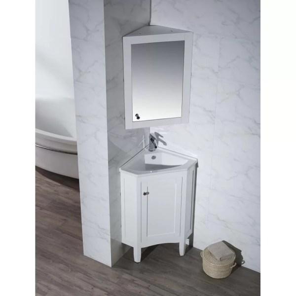 "25"" Single Corner Bathroom Vanity Set With Mirror"