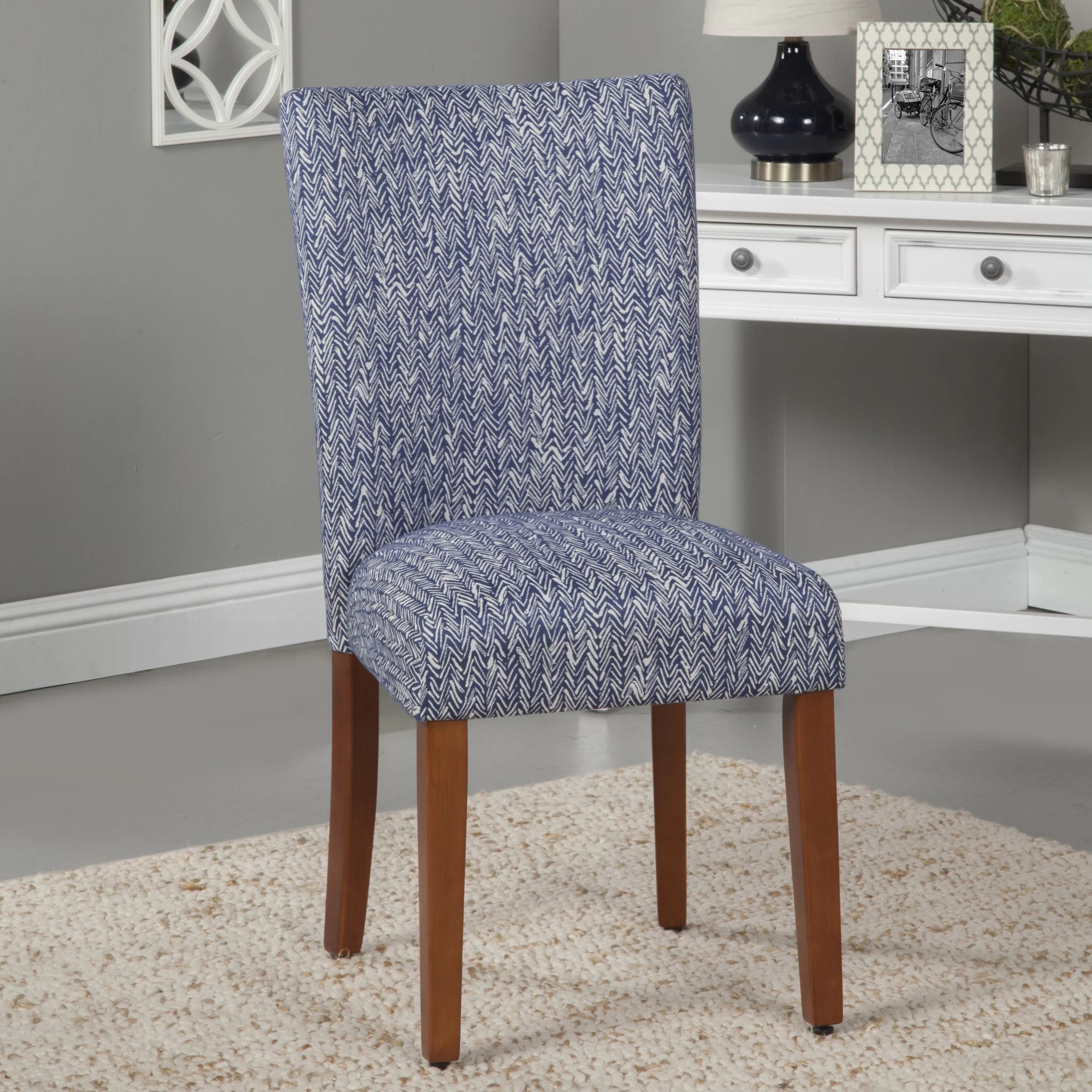 Blue Parsons Chair Upholstered Parsons Chair In Blue Wayfair