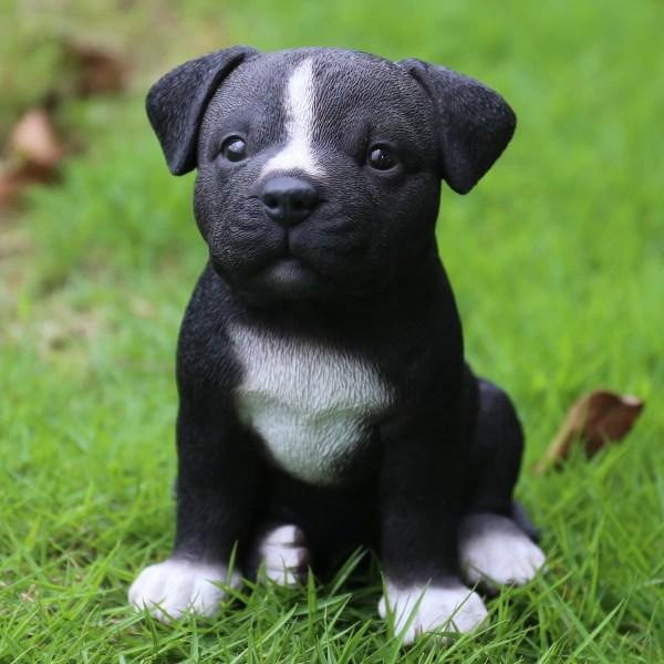 Sitting Staffordshire Pit Bull Puppy Statue