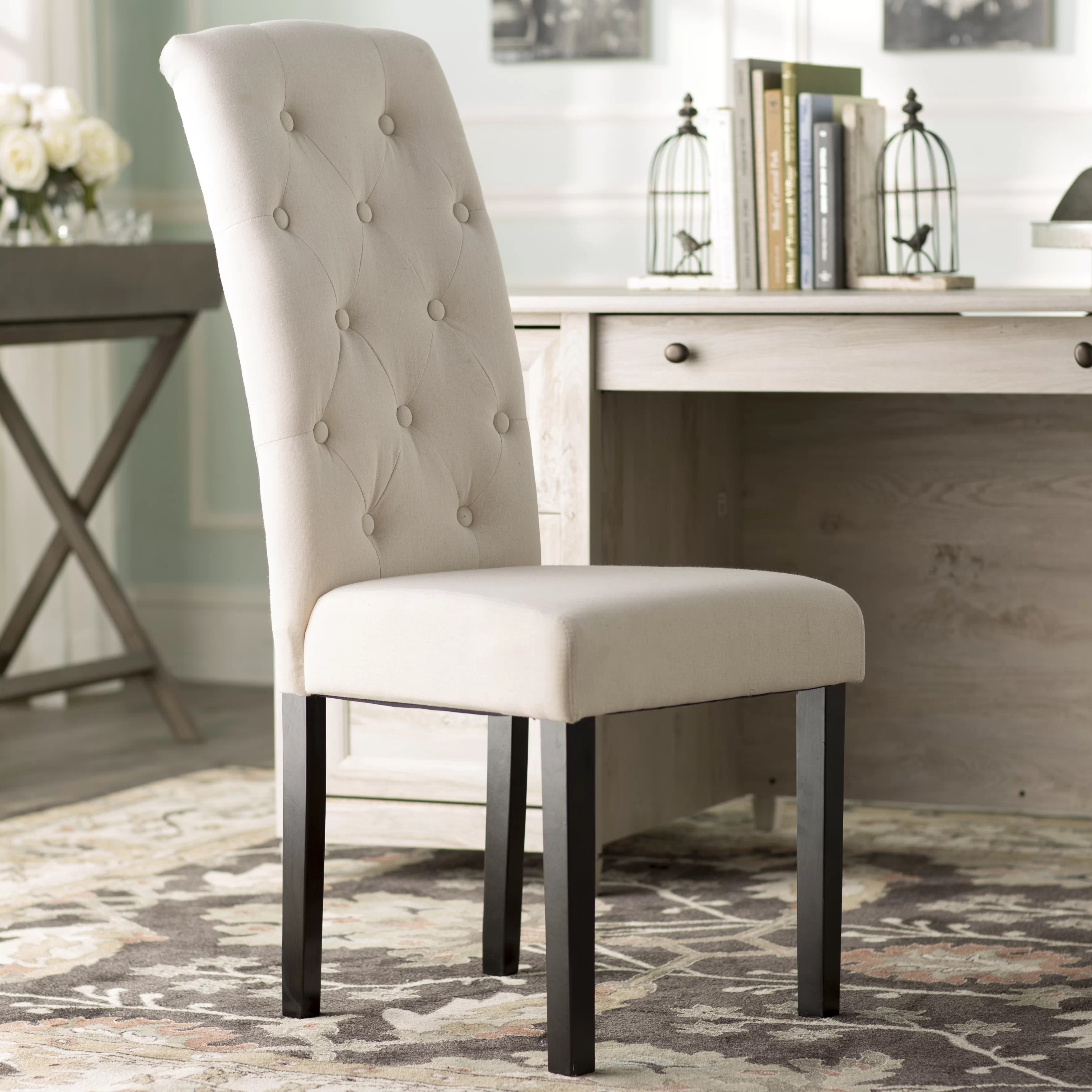 burlap dining chair covers glass room table and chairs lark manor brittany tufted parsons reviews wayfair