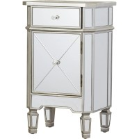 Rhiannon 1 Drawer Mirrored Cabinet | Wayfair