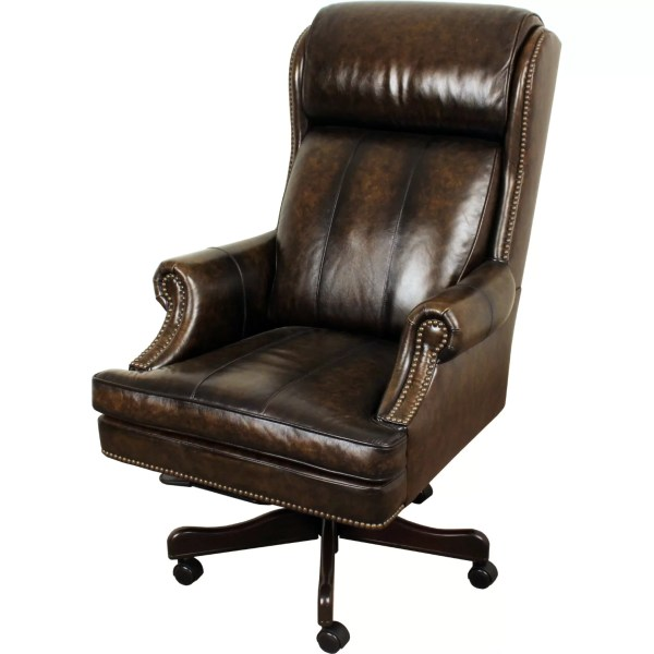executive office chairs Lynton High-Back Leather Executive Office Chair | Wayfair