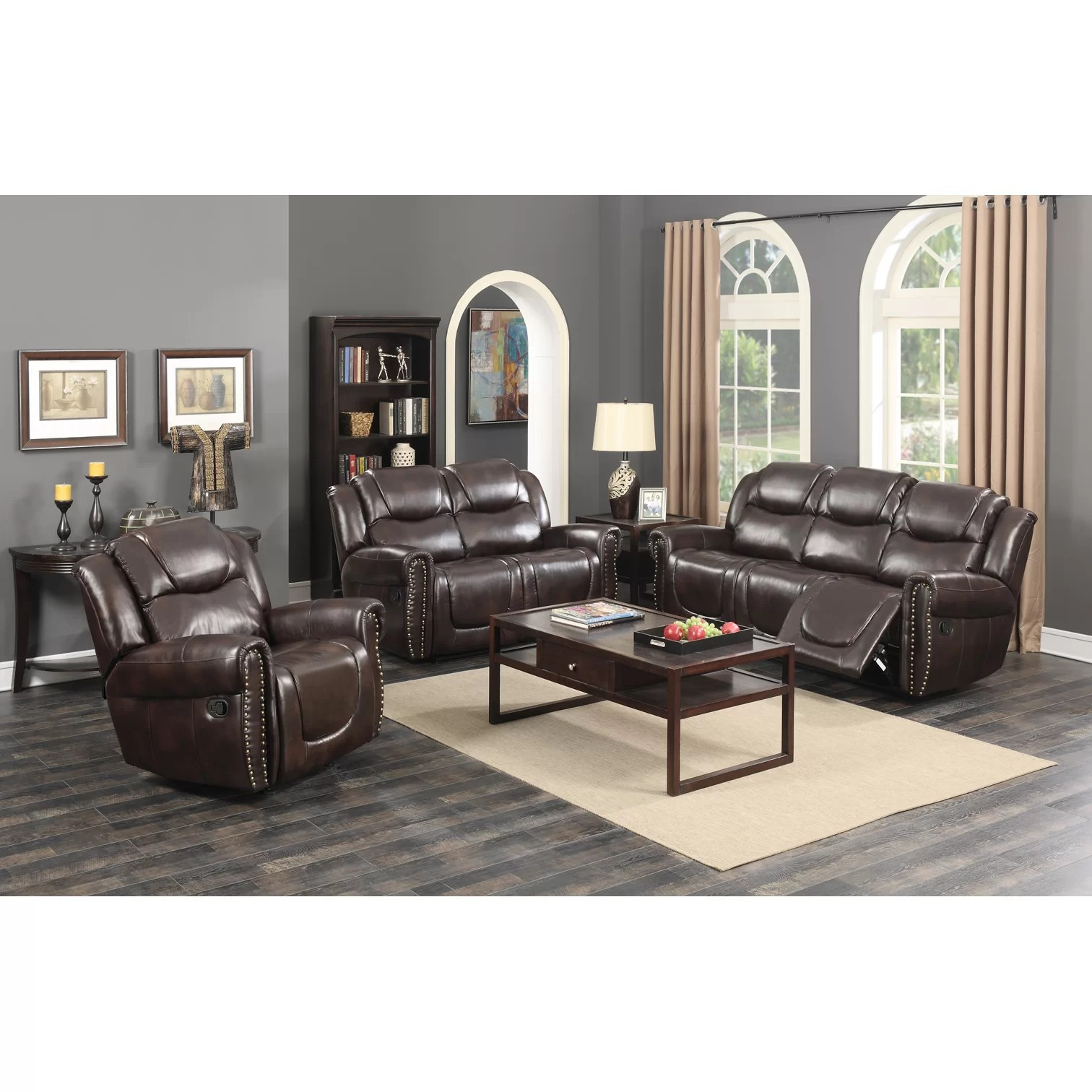brooklyn bonded leather lounger chair and ottoman target slipper covers castrol living room reclining sofa wayfair