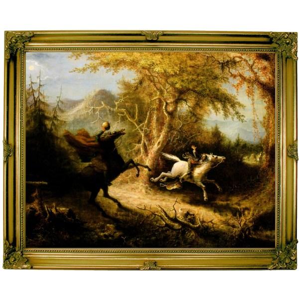 ' Headless Horseman Pursuing Ichabod Crane 1858' John Quidor Framed Painting Print