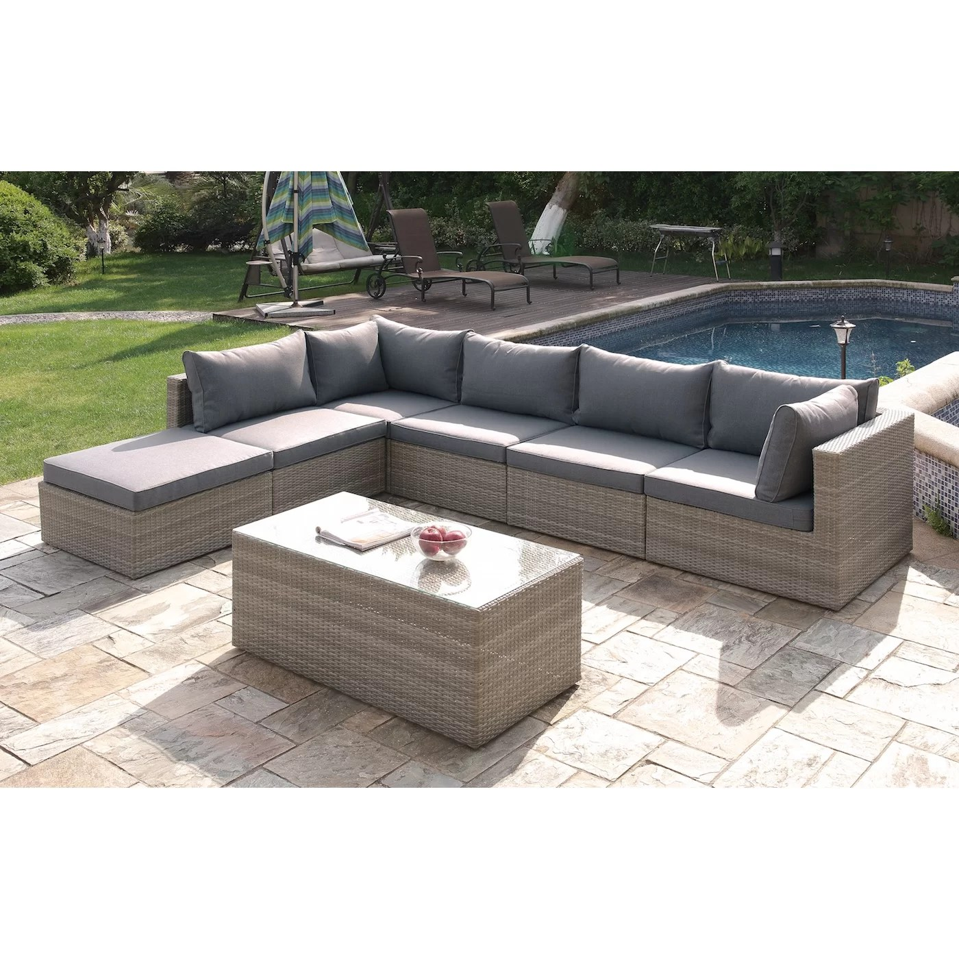 where to buy sofa in jb how fix flat leather cushions patio wicker 7 piece deep sectional group set and reviews