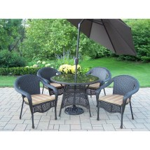 Elite Resin Wicker 5 Piece Dining Set With Cushions And