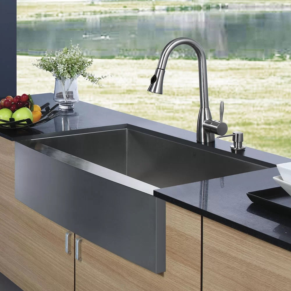 33 Inch Farmhouse Apron Single Bowl 16 Gauge Stainless Steel Kitchen Sink With Aylesbury