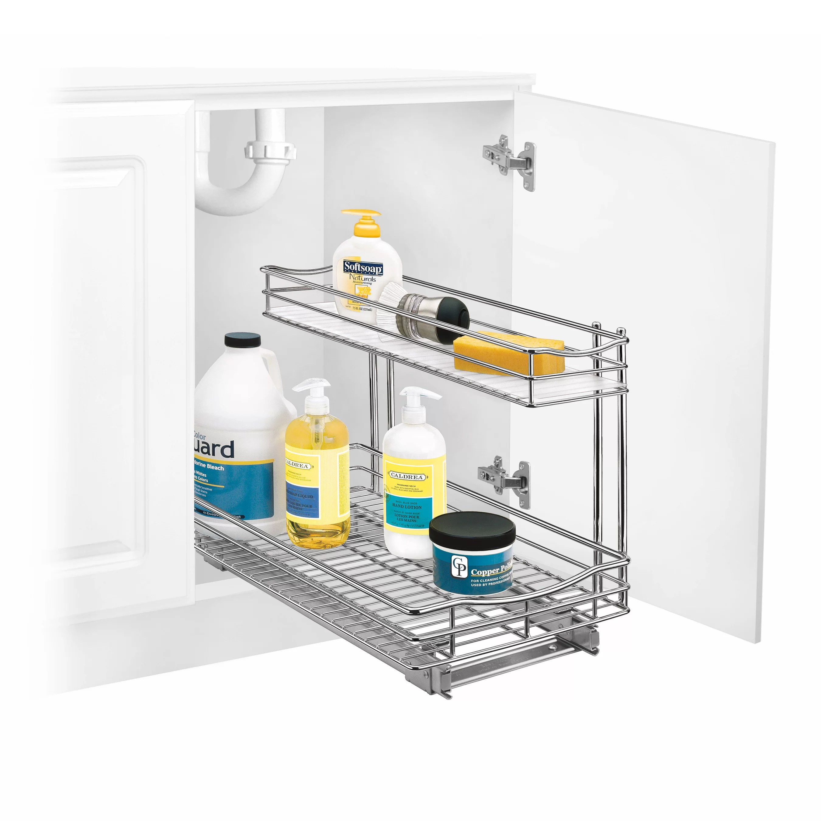 two tier kitchen drawer organizer knife lynk professional roll out under sink cabinet