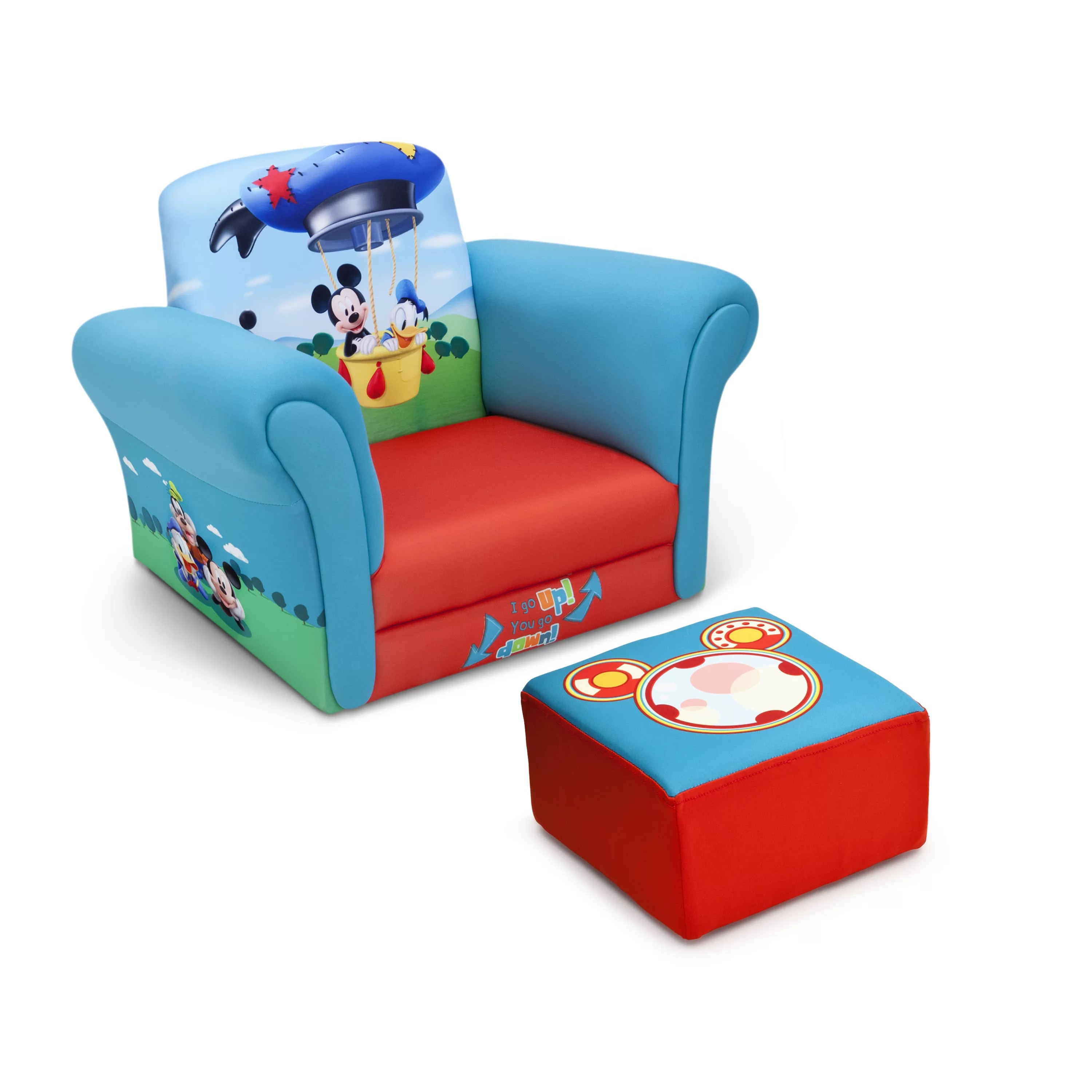 kids chair with ottoman patio strap repair mickey mouse upholstered club and wayfair