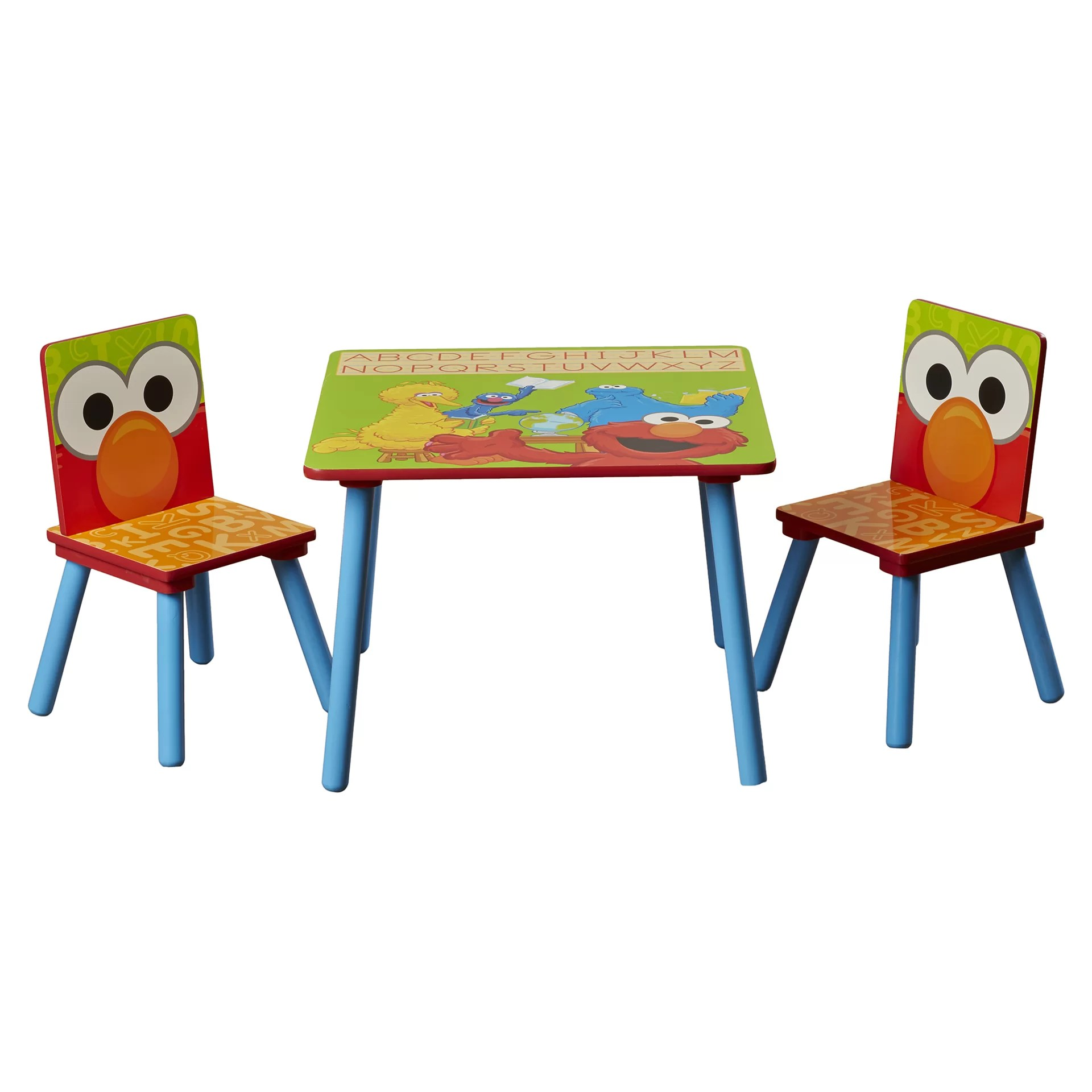 sesame street table and chairs fisher price ez clean high chair delta children kids 39 3 piece