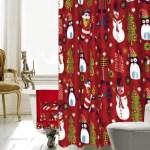 Christmas Bathroom Decor 18 Piece Red Shower Curtain Set