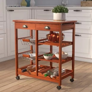 folding kitchen cart plates set carts wayfair serita