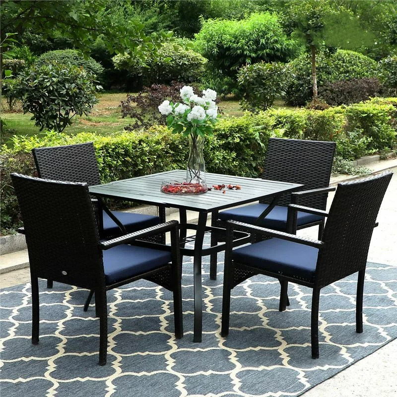 cayman square 4 person 37 long dining set with cushions