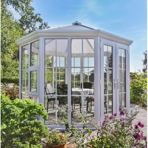 Pavillon Kangley aus Stahl und Kunststoff Garten Living Paneelmaterial: Tablett, Gr��e: 297,2 cm H x 338 cm B x 338 cm T