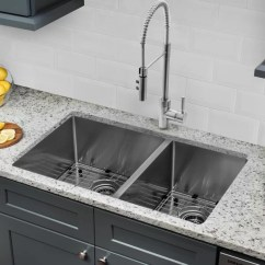 60 40 Kitchen Sink Cabinets Jacksonville Fl Soleil Radius 16 Gauge Stainless Steel 32 X 19 Double Bowl Undermount With Pull Out Faucet And Soap Dispenser Wayfair