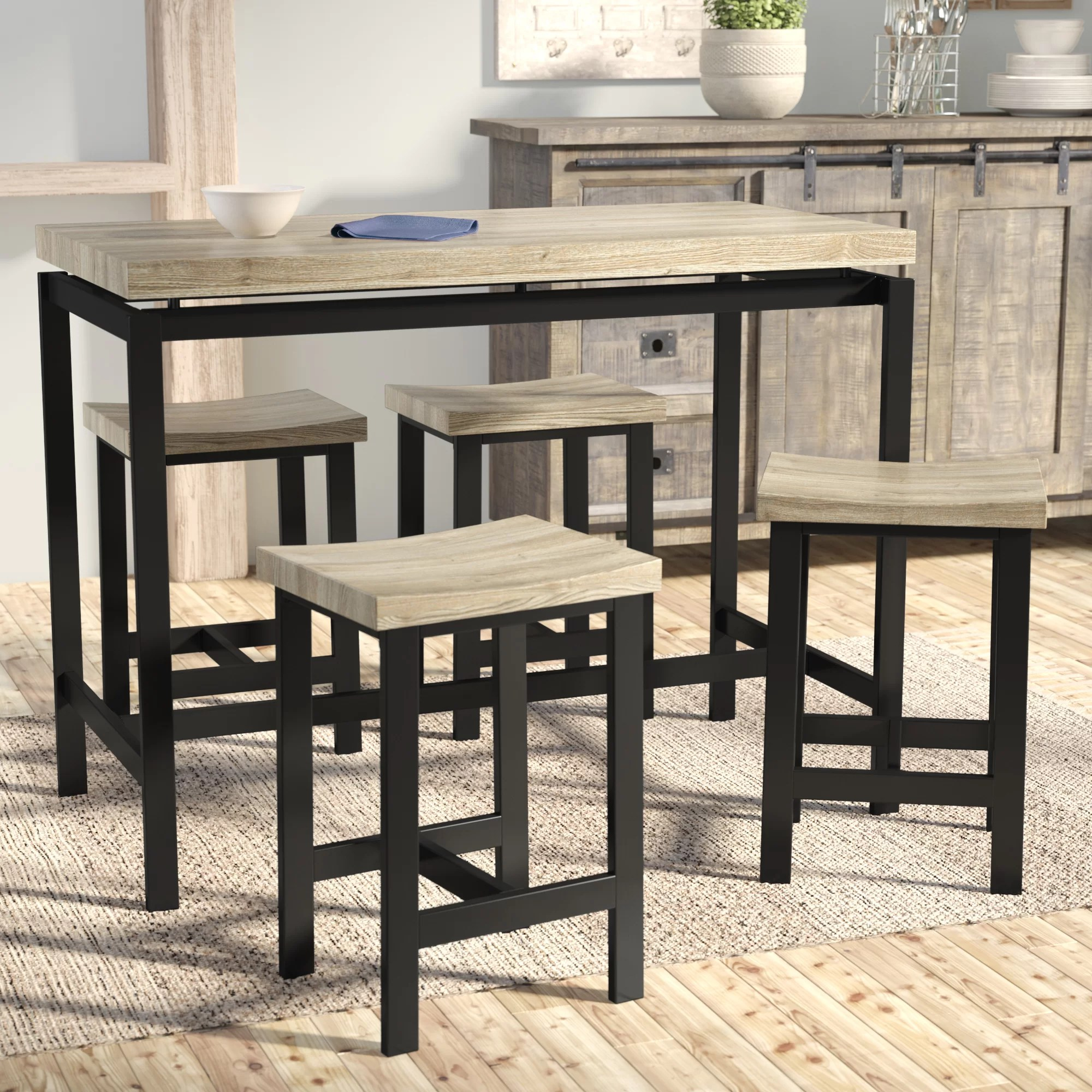 high table and chairs for kitchen hanging chair ace hardware pub height set wayfair bourges 5 piece