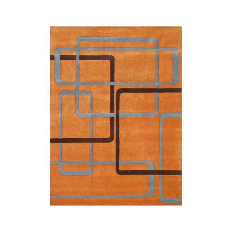 Akot Hand-Tufted Orange Area Rug Rug Size: 5 x 8