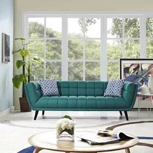teal sofas glam sofa cushions blue wayfair quickview