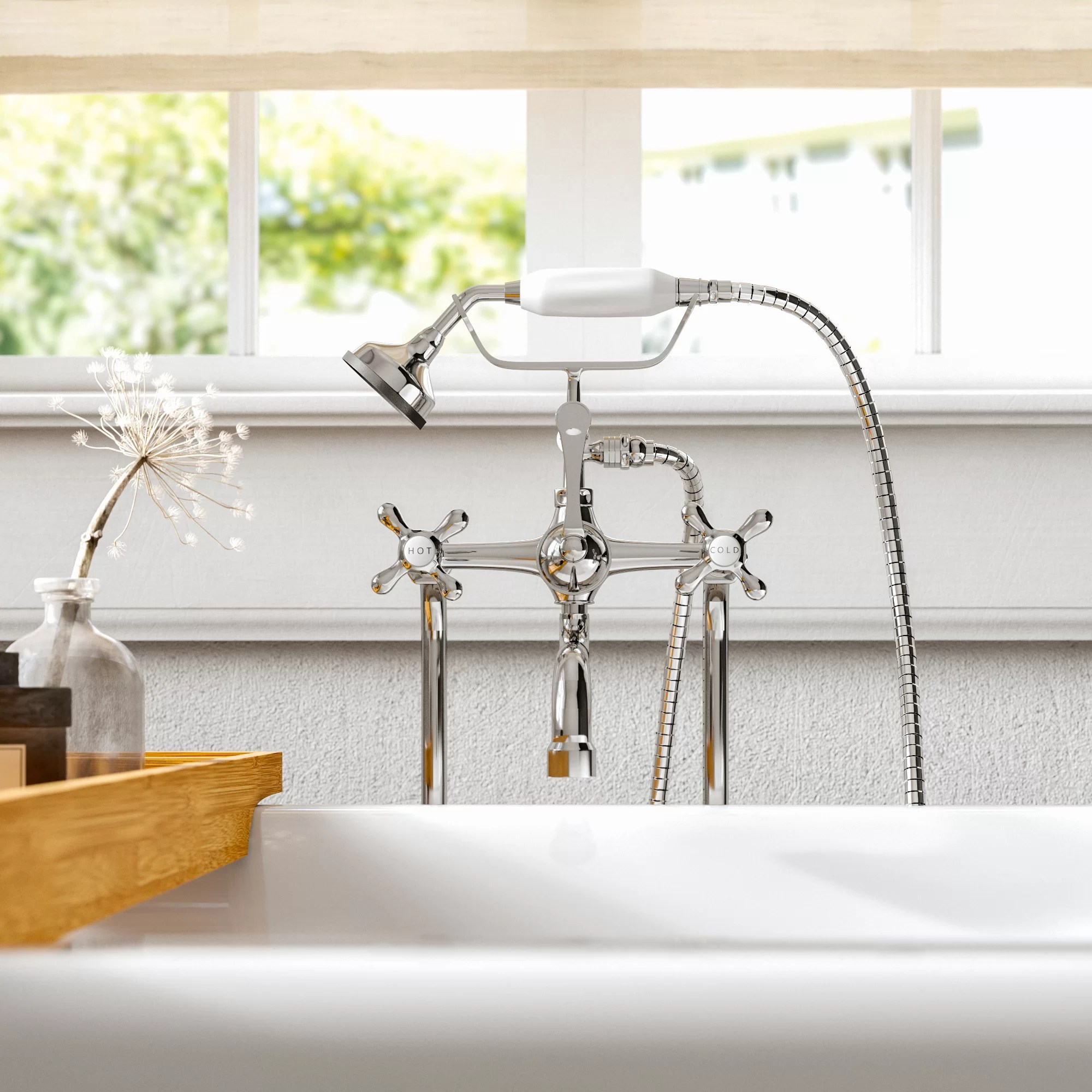 double handle wall mounted freestanding tub filler trim with diverter and handshower