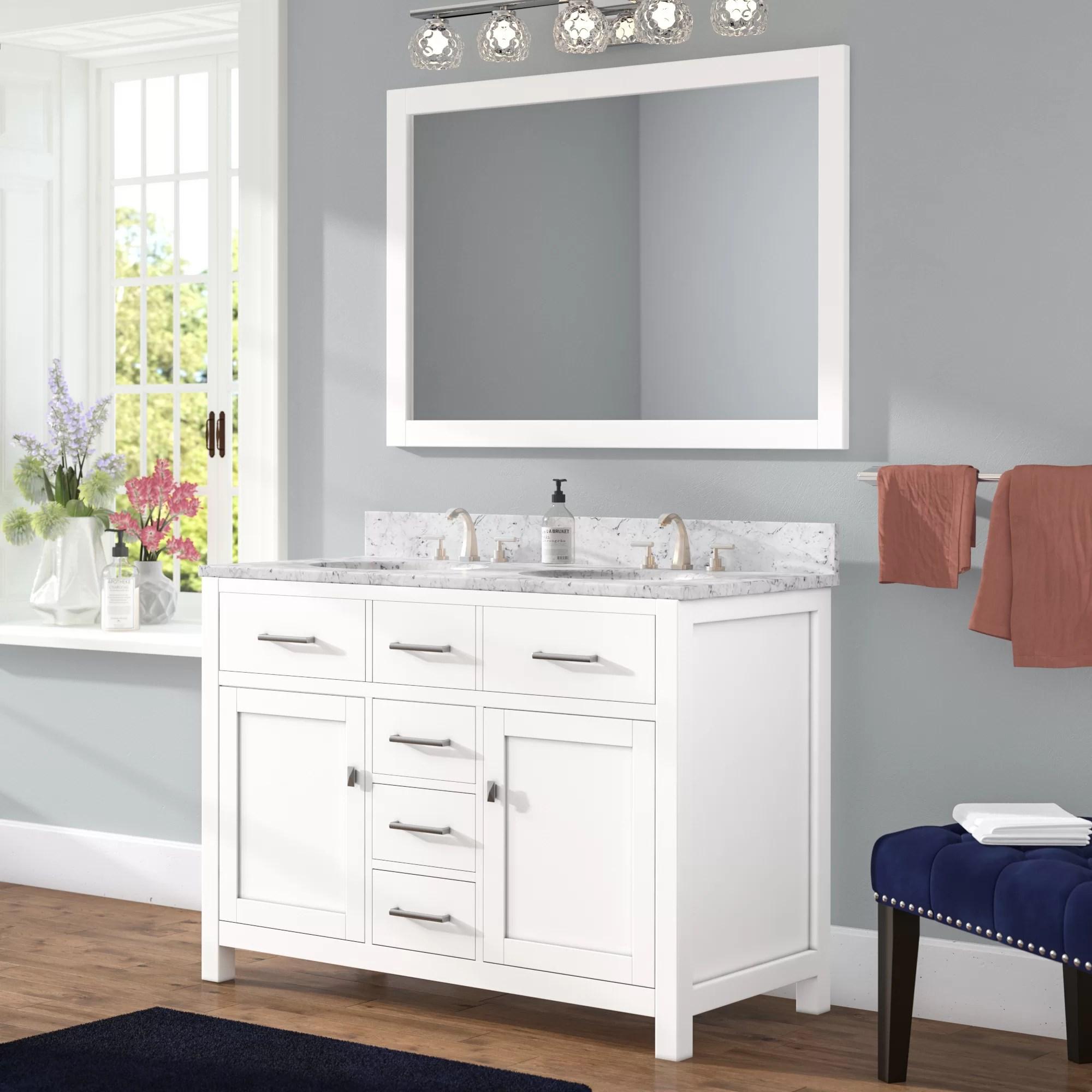 willa arlo interiors sverre 48 double bathroom vanity set with mirror reviews wayfair