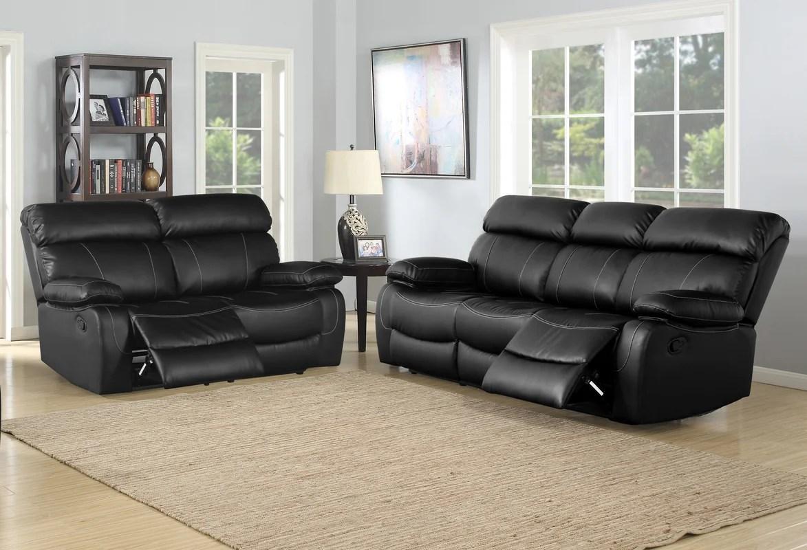 ryker reclining sofa and loveseat 2 piece set sure fit memory foam cover red barrel studio birdsboro living room