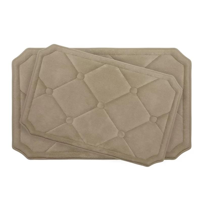 Gertie Large 2 Piece Premium Micro Plush Memory Foam Bath Mat Set Color: Linen