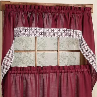 swag curtains for kitchen new cost red valances you ll love wayfair quickview