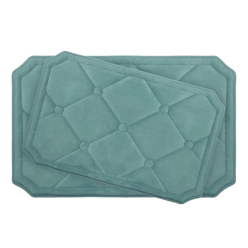 Gertie Large 2 Piece Premium Micro Plush Memory Foam Bath Mat Set Color: Marine Blue