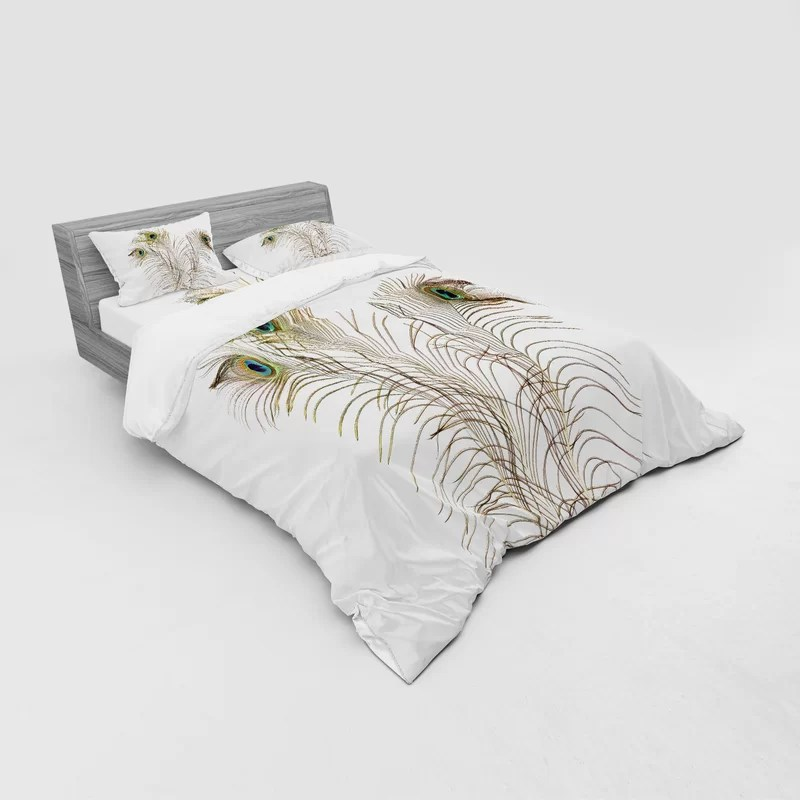 peacock duvet cover set with pillow