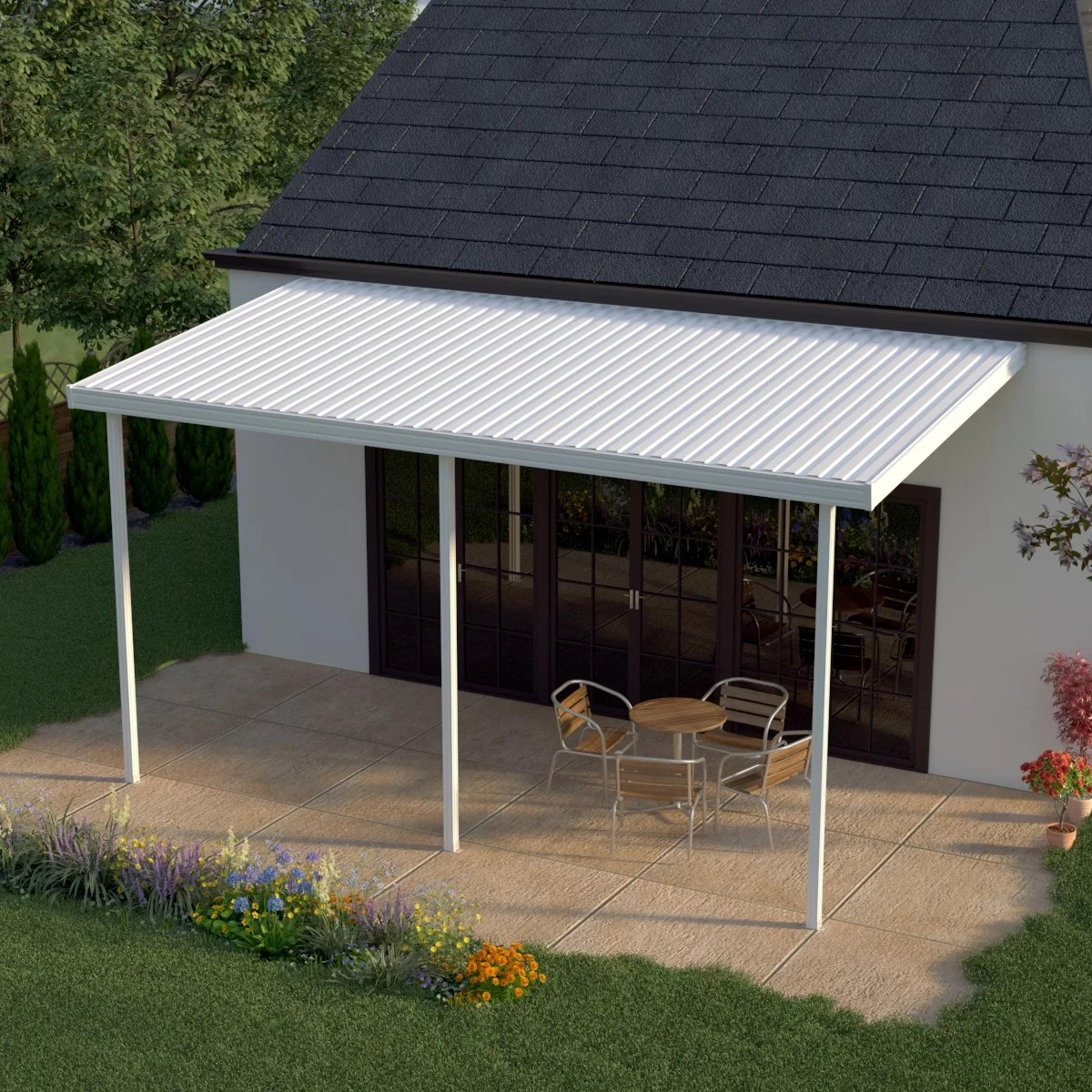 16 ft w x 8 ft d metal standard patio awning
