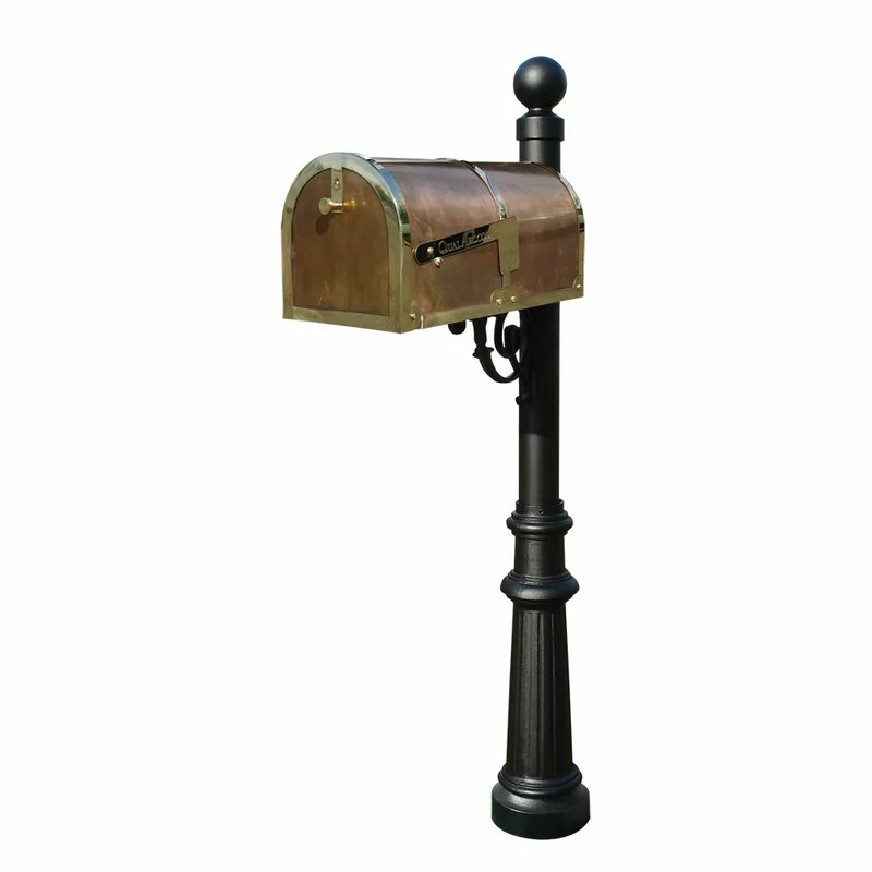 Provincial Mailbox with Post Included Finish: Polished Brass and Black