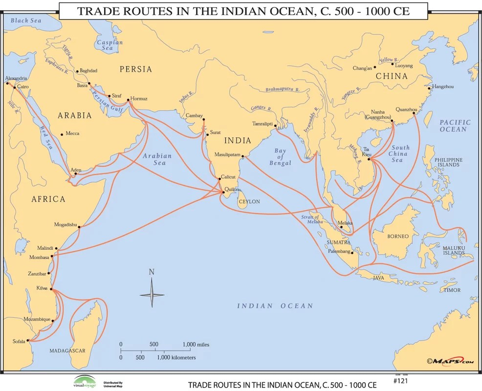 Universal Map World History Wall Maps Trade Routes In