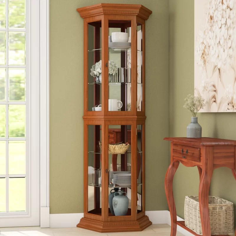 Three Posts Hollingdon Lighted Curio Cabinet  Reviews