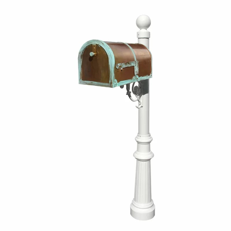 Provincial Mailbox with Post Included Finish: Antique Brass Patina and White