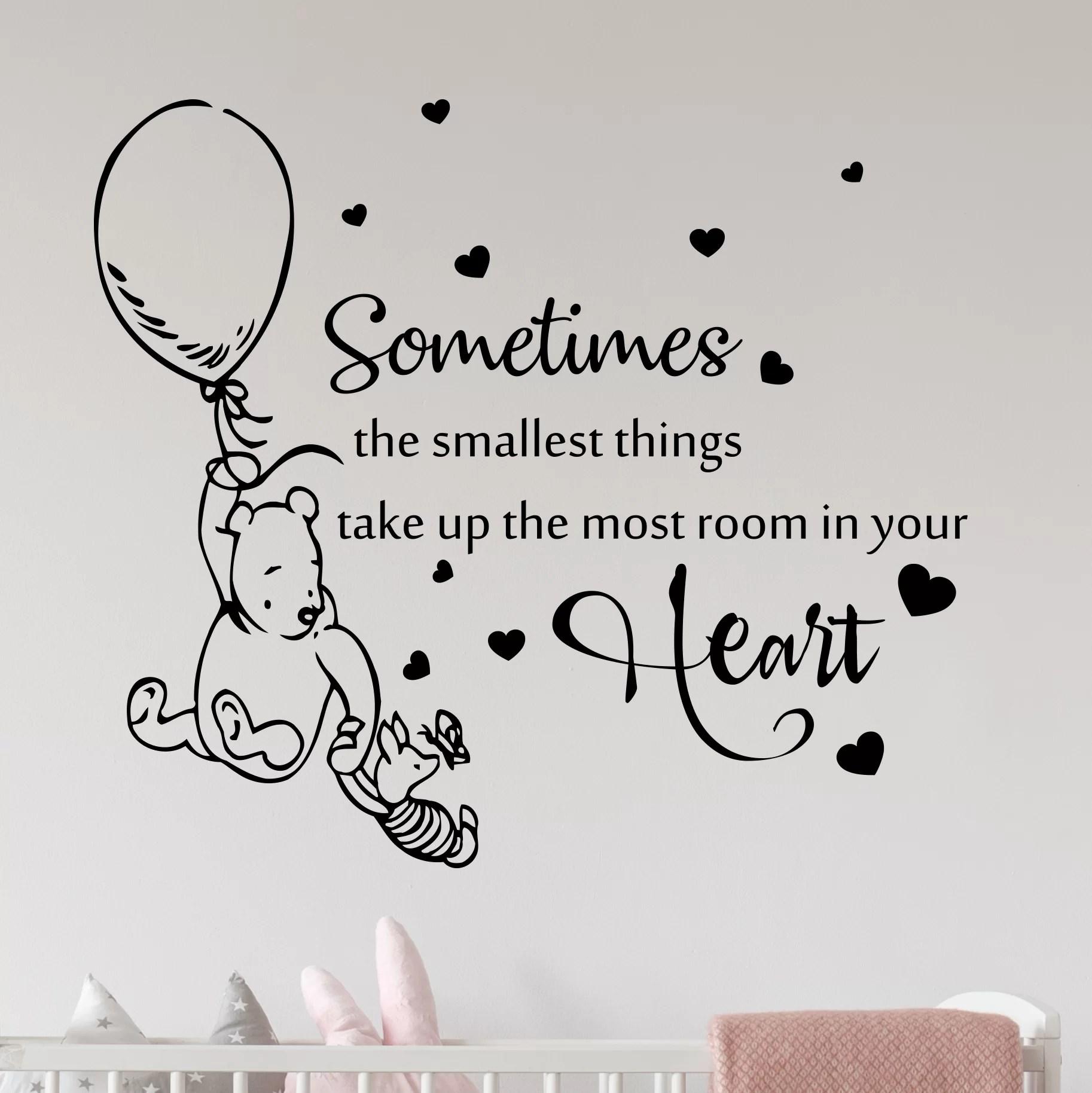 Home & Garden Winnie the pooh quote keep me in your heart wall art sticker children bedroom Wall Decals & Stickers merkez-al-bourhan.com