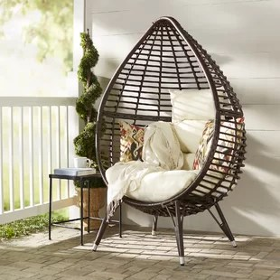 hanging lawn chair baxton studio modern leather accent patio wayfair teardrop with cushions