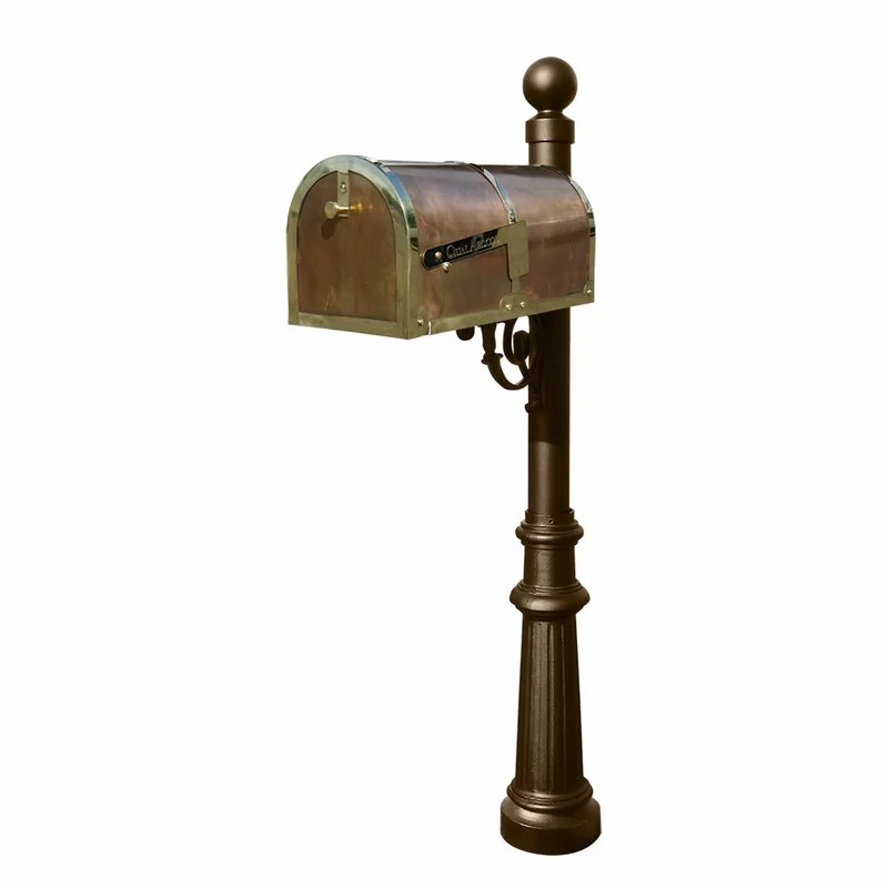 Provincial Mailbox with Post Included Finish: Polished Brass and Bronze